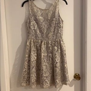 Silver/light grey lace mini skater dress
